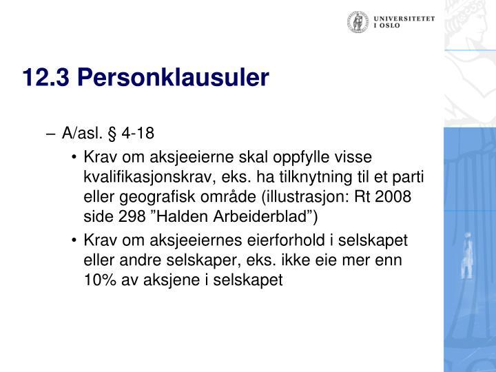 12.3 Personklausuler