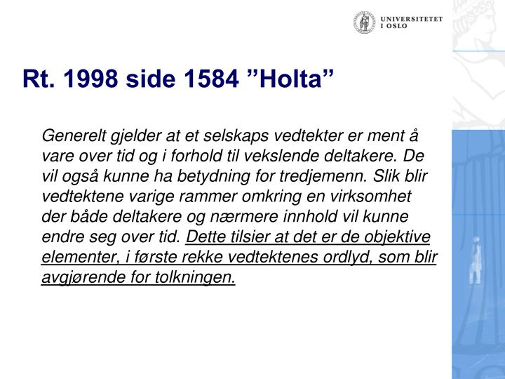 """Rt. 1998 side 1584 """"Holta"""""""