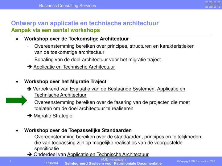 Ontwerp van applicatie en technische architectuur aanpak via een aantal workshops