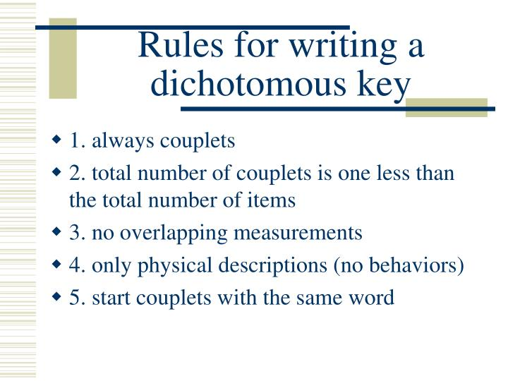Rules for writing a dichotomous key