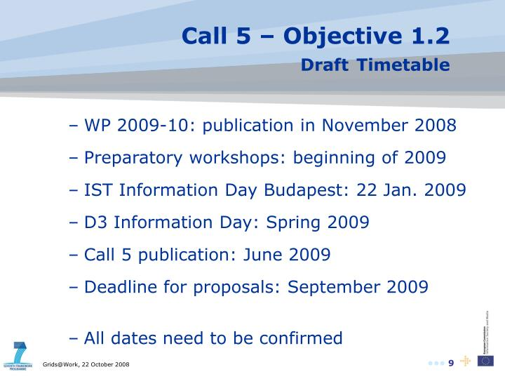 Call 5 – Objective 1.2
