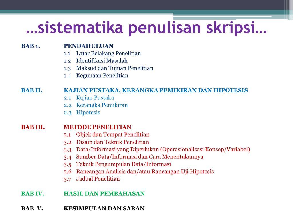 Ppt Teknik Penulisan Skripsi Powerpoint Presentation Free