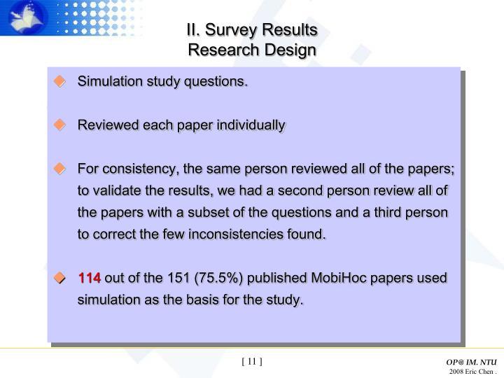 II. Survey Results
