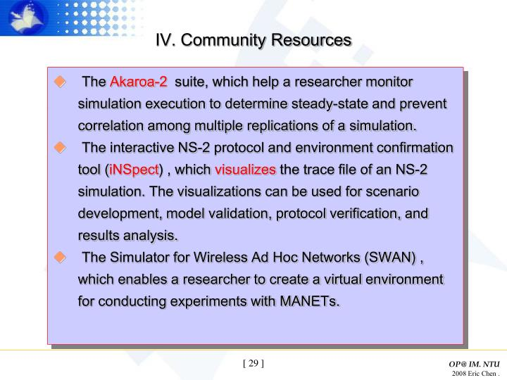 IV. Community Resources
