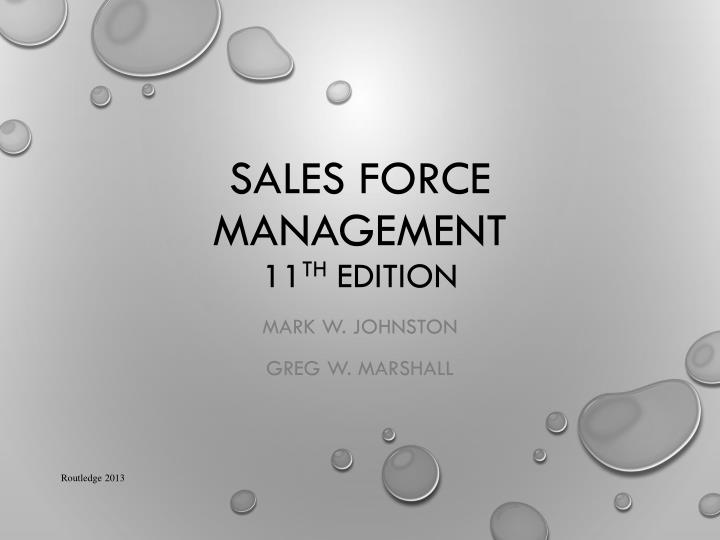 sales force management 11 th edition n.
