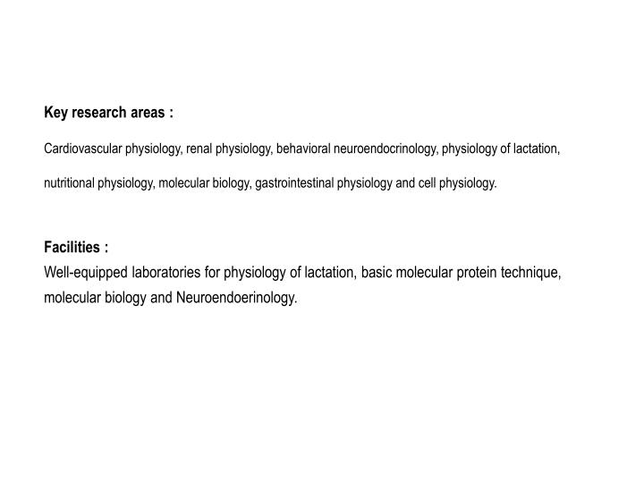 Key research areas :