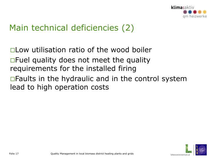 Main technical deficiencies (2)