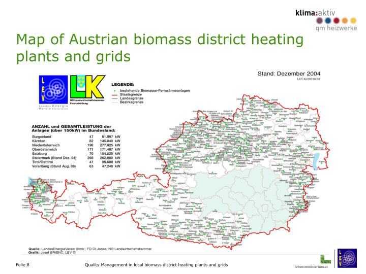 Map of Austrian biomass district heating plants and grids