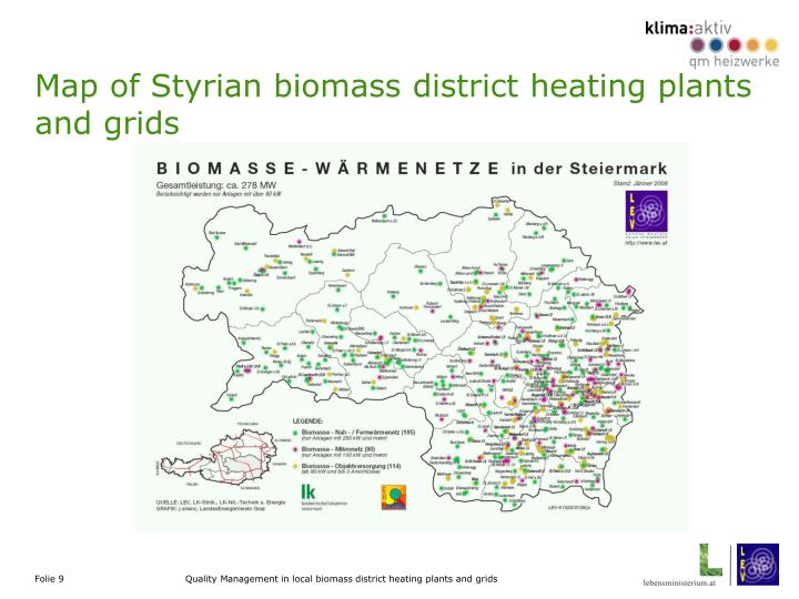 Map of Styrian biomass district heating plants and grids