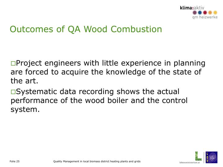 Outcomes of QA Wood Combustion