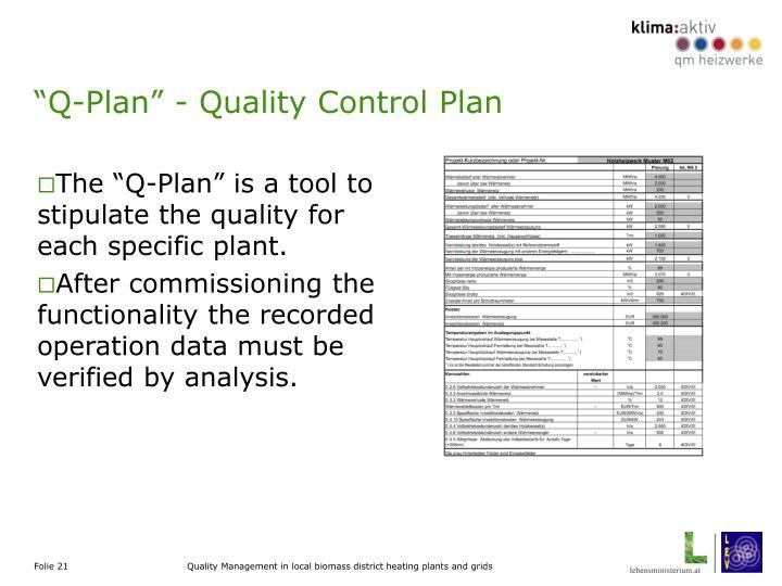"""Q-Plan"" - Quality Control Plan"