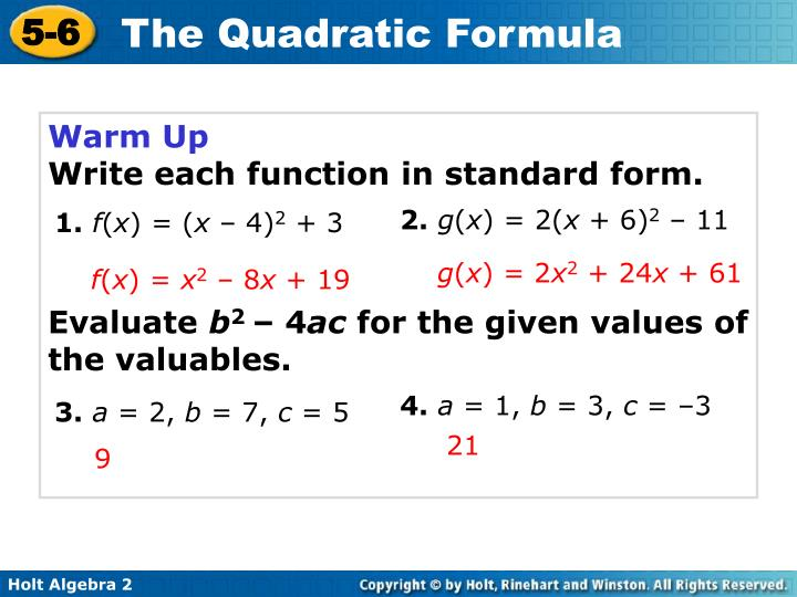 Ppt Warm Up Write Each Function In Standard Form Powerpoint