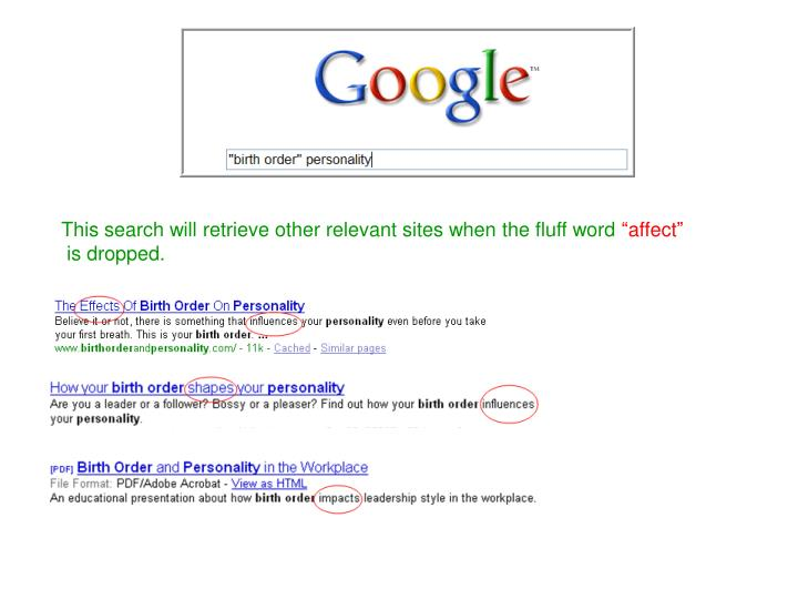 This search will retrieve other relevant sites when the fluff word