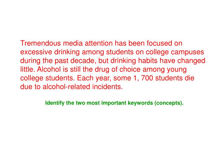 Tremendous media attention has been focused on excessive drinking among students on college campuses during the past decade, but drinking habits have changed little. Alcohol is still the drug of choice among young college students. Each year, some 1, 700 students die due to alcohol-related incidents.