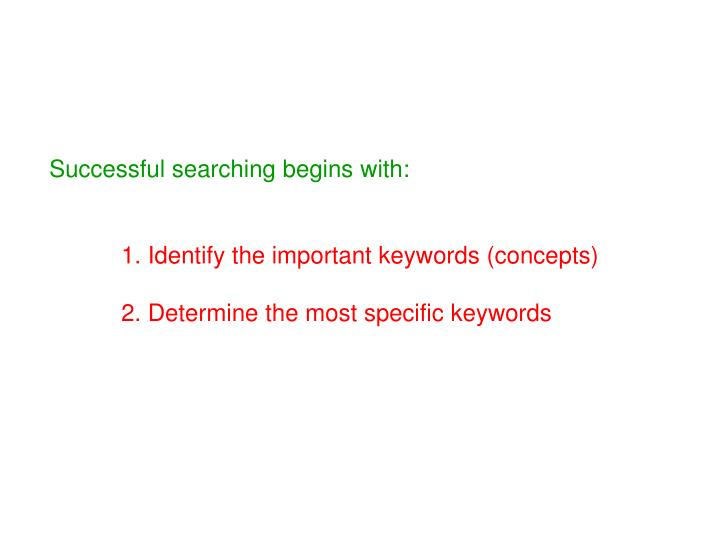 Successful searching begins with: