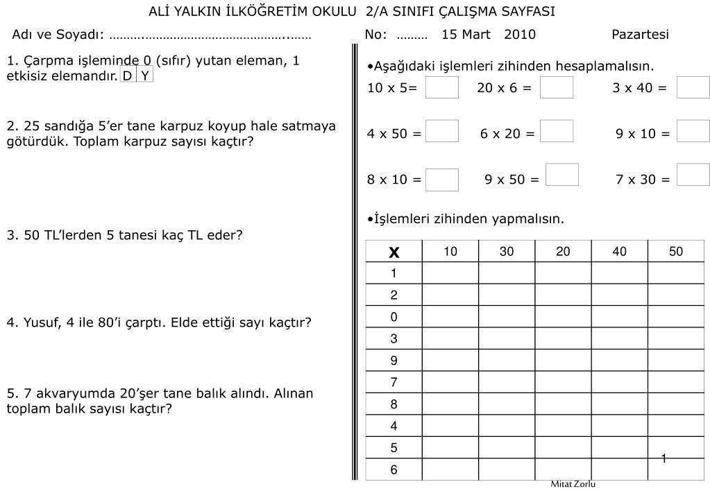 Ppt Ali Yalkin Ilkogretim Okulu 2 A Sinifi Calisma Sayfasi