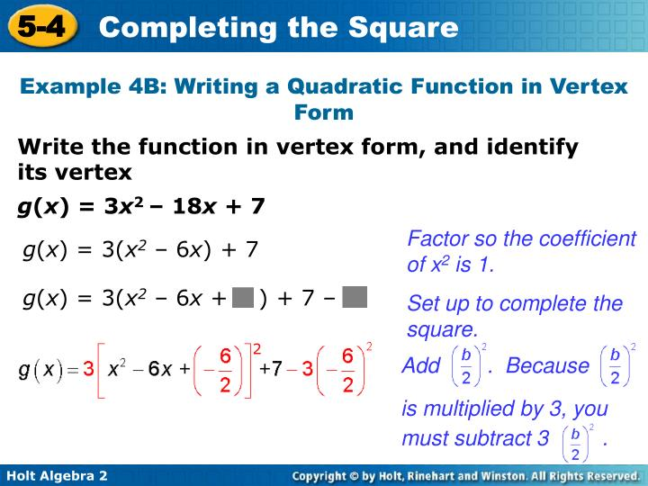 Ppt Solve Quadratic Equations By Completing The Square Write