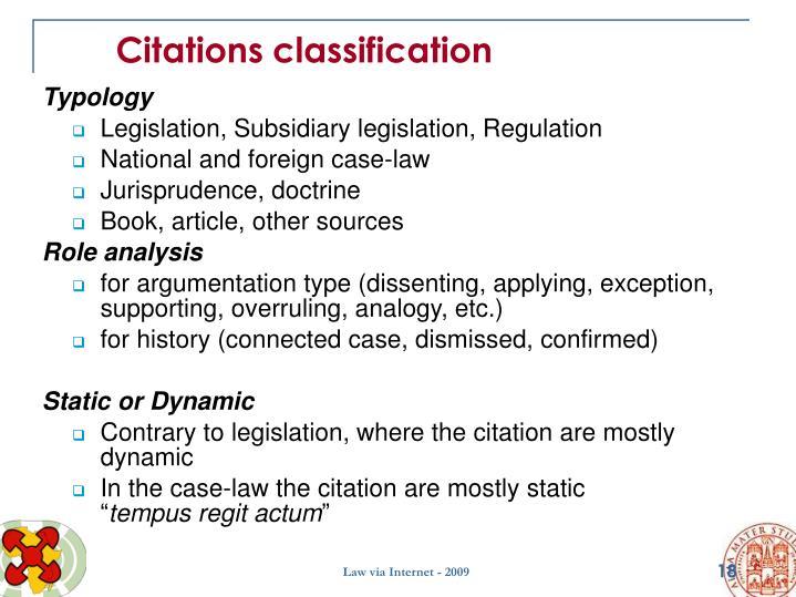 Citations classification