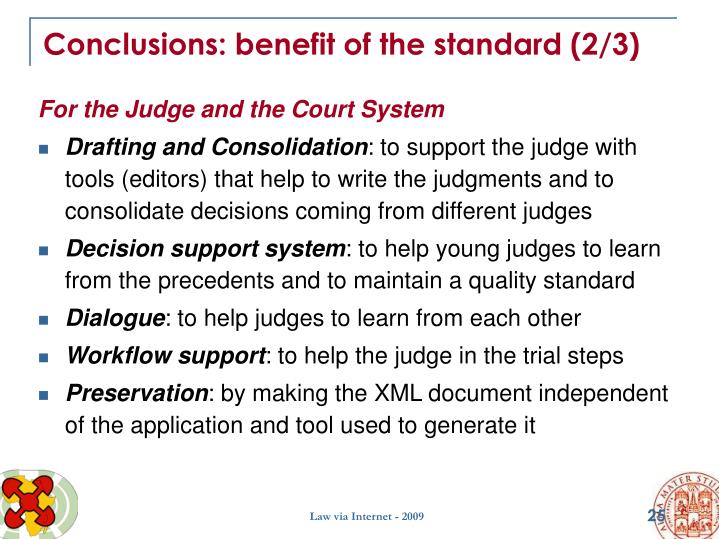 Conclusions: benefit of the standard (2/3)