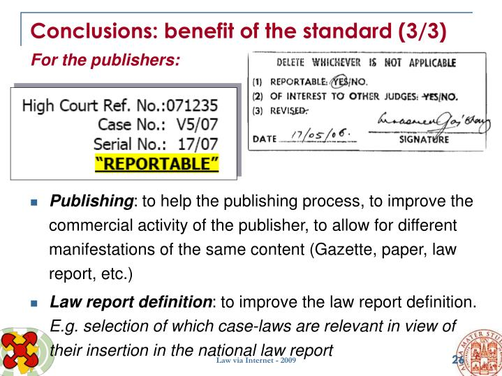 Conclusions: benefit of the standard (3/3)