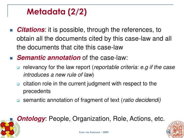 Metadata (2/2)