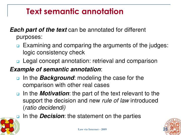 Text semantic annotation