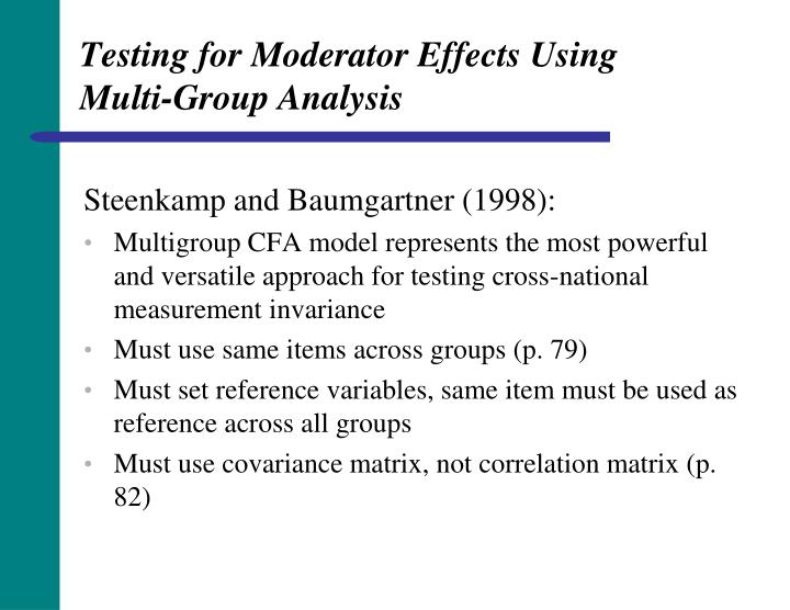 Testing for Moderator Effects Using