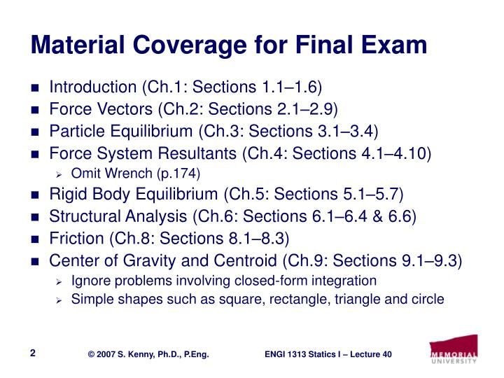 Material coverage for final exam