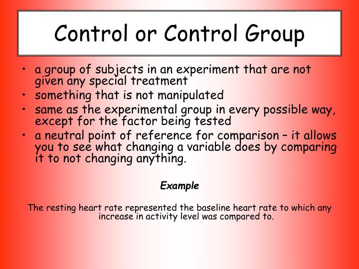 Control or Control Group