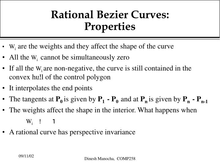 Rational bezier curves properties