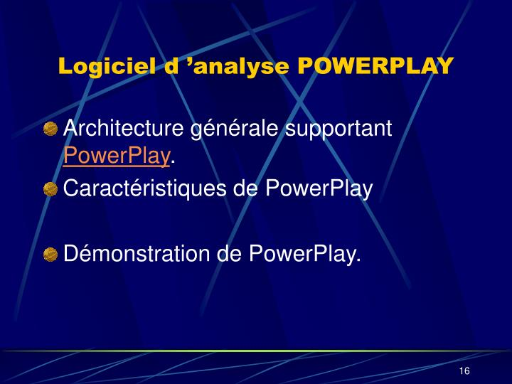 Logiciel d'analyse POWERPLAY
