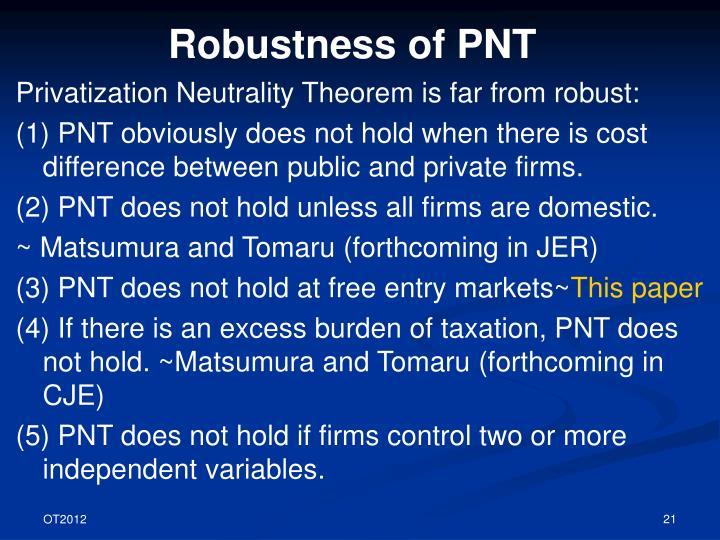 Robustness of PNT
