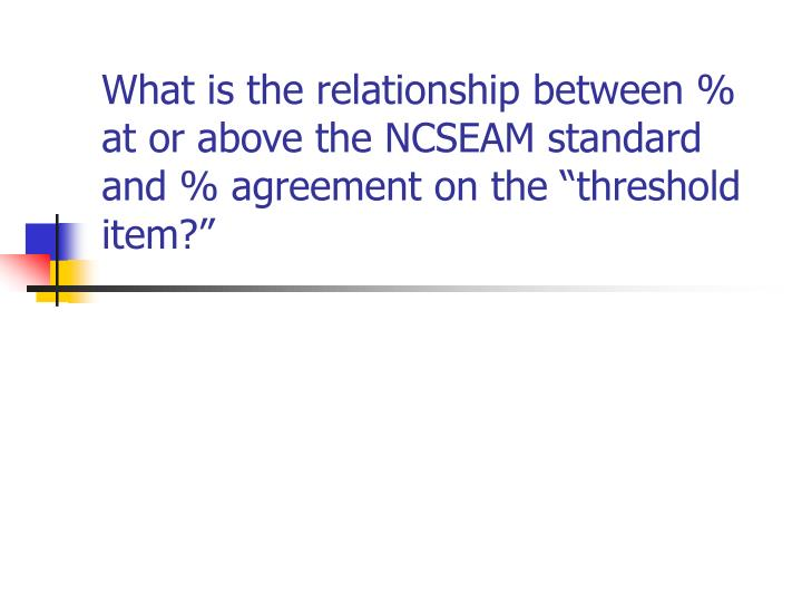 """What is the relationship between % at or above the NCSEAM standard and % agreement on the """"threshold item?"""""""