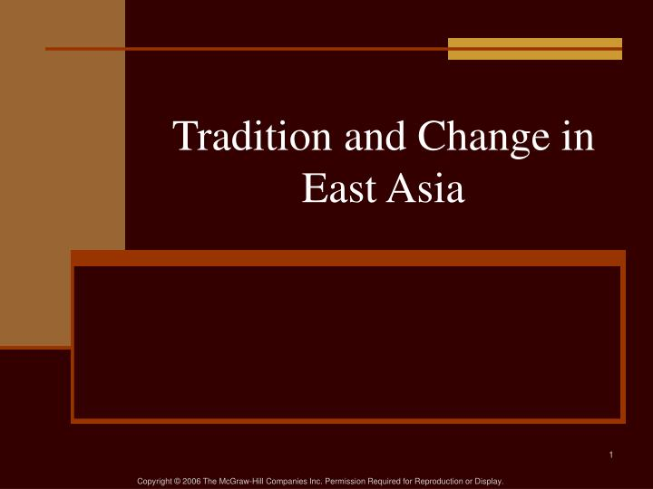 tradition and change in east asia n.