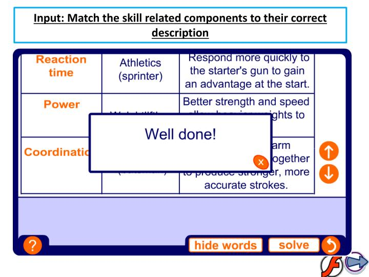 Input: Match the skill related components to their correct description