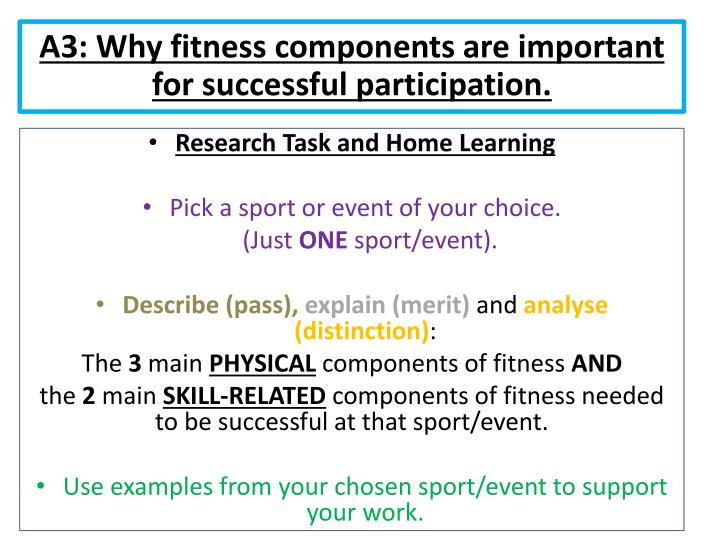 A3: Why fitness components are important