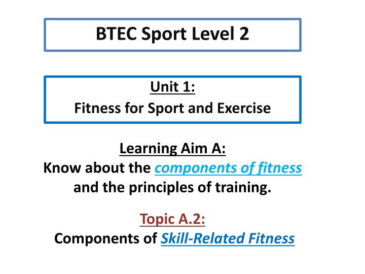 Unit 1 fitness for sport and exercise