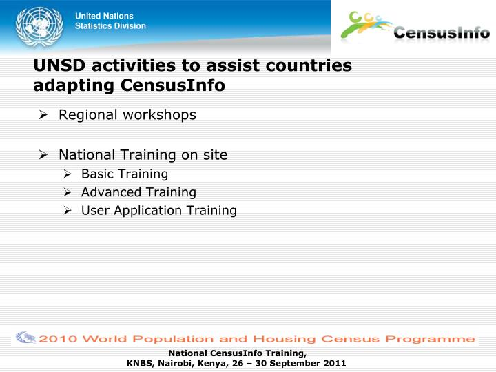 UNSD activities to assist countries adapting CensusInfo