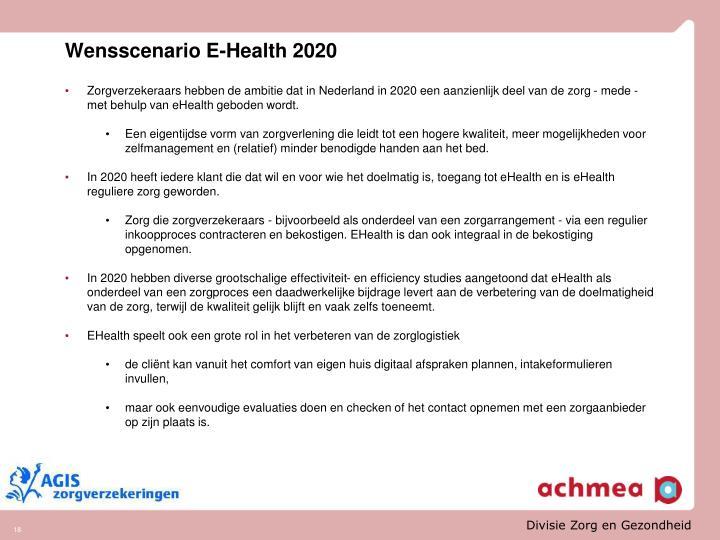 Wensscenario E-Health 2020