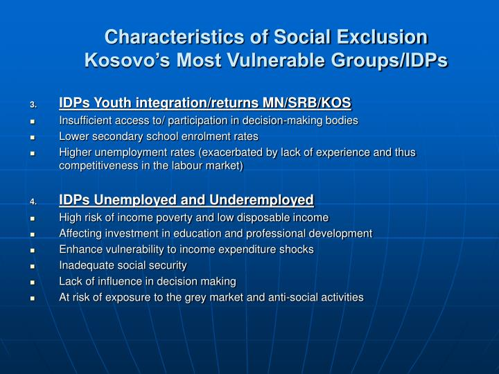 Characteristics of Social Exclusion