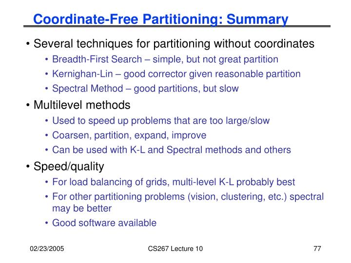 Coordinate-Free Partitioning: Summary