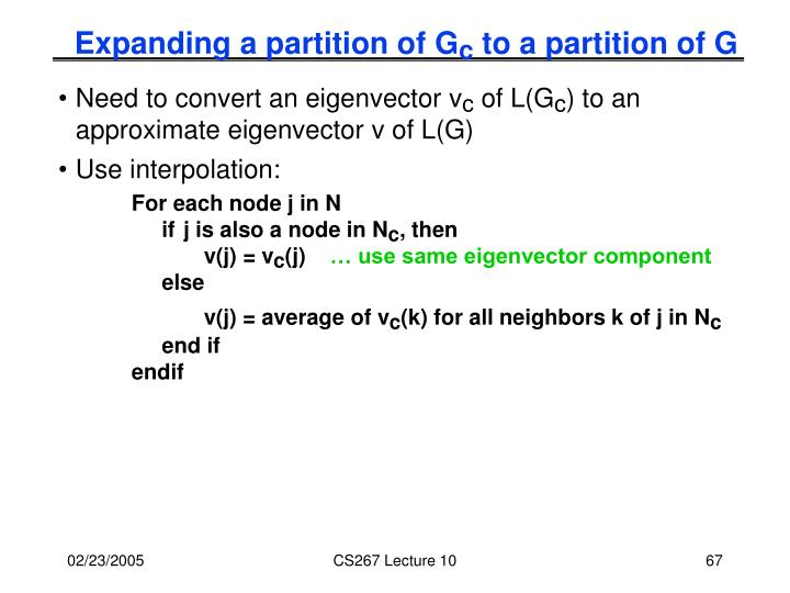 Expanding a partition of G