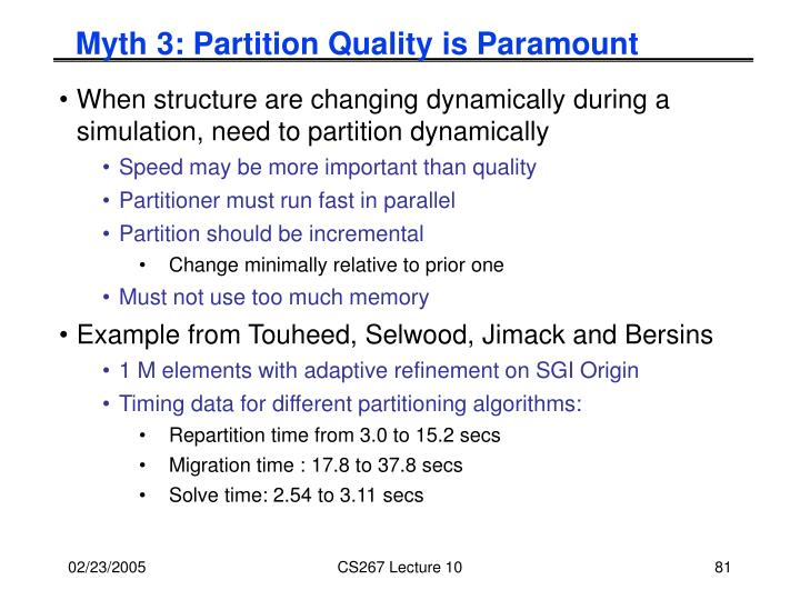 Myth 3: Partition Quality is Paramount