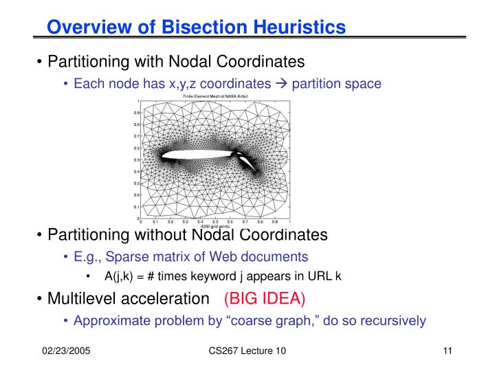 Overview of Bisection Heuristics
