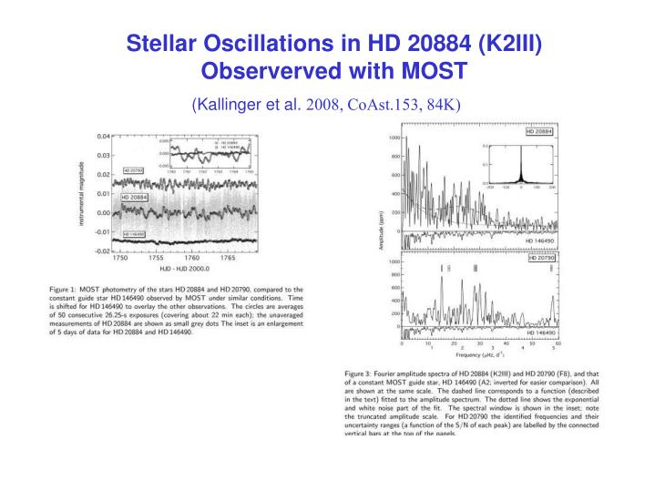 Stellar Oscillations in HD 20884 (K2III) Observerved with MOST