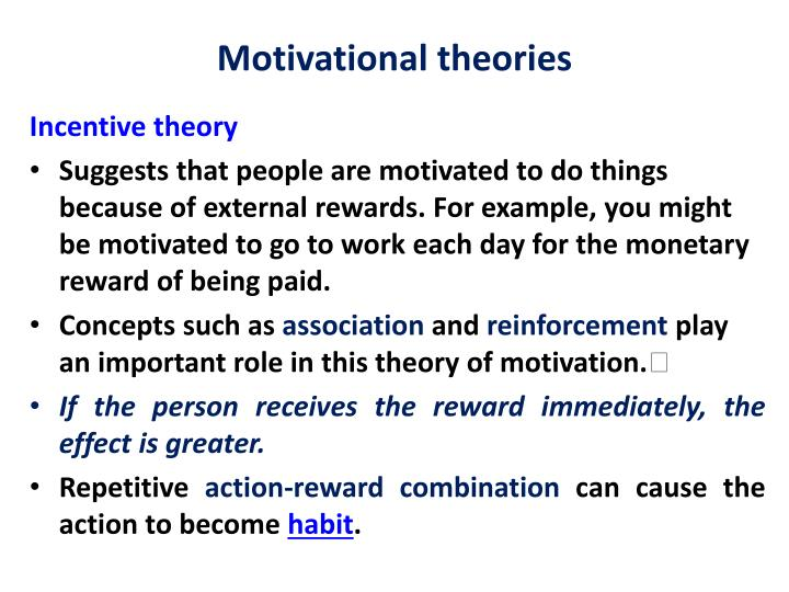example of incentive theory of motivation