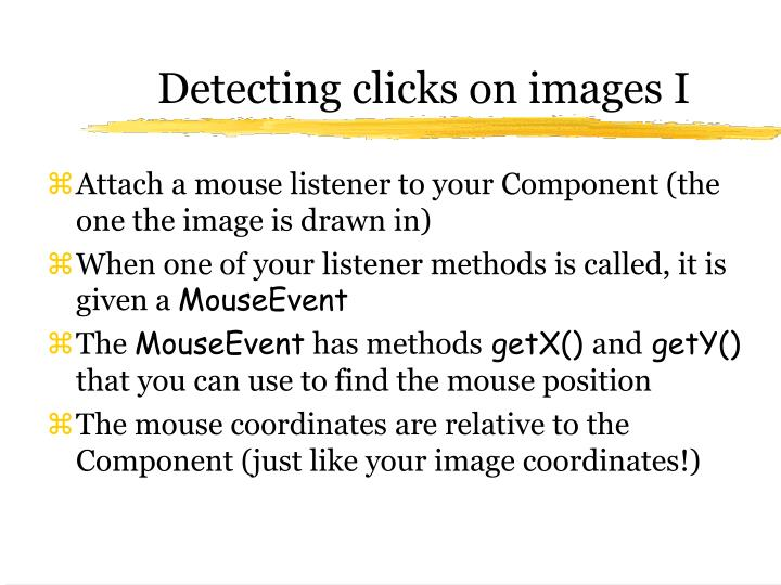 Detecting clicks on images I