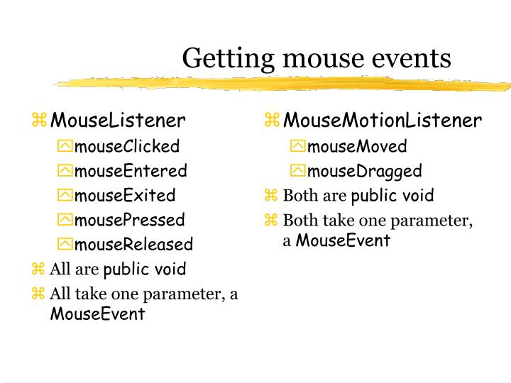 Getting mouse events