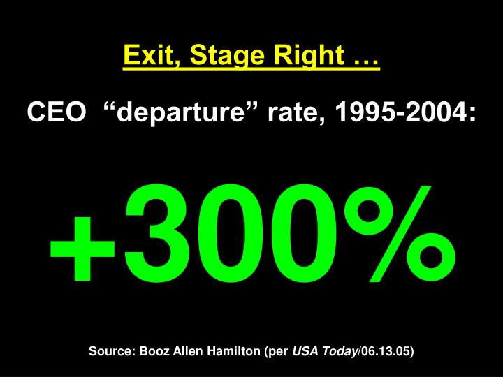 Exit, Stage Right …