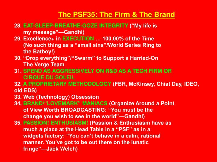 The PSF35: The Firm & The Brand